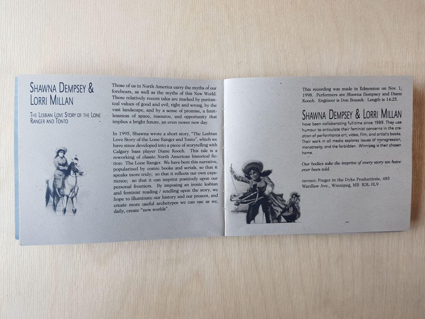 "Shawna Dempsey & Lorri Millan, ""The Lesbian Love Story of the Lone Ranger & Tonto"" description"